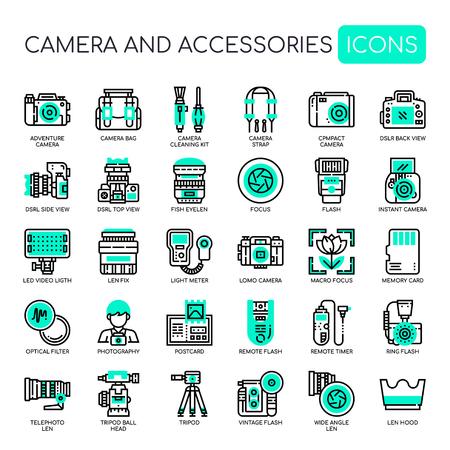 Cámara y accesorios, iconos de líneas finas y píxeles perfectos