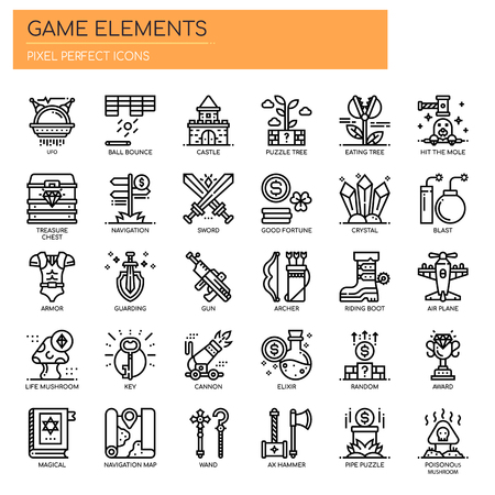 Game Elements , Thin Line and Pixel Perfect Icons