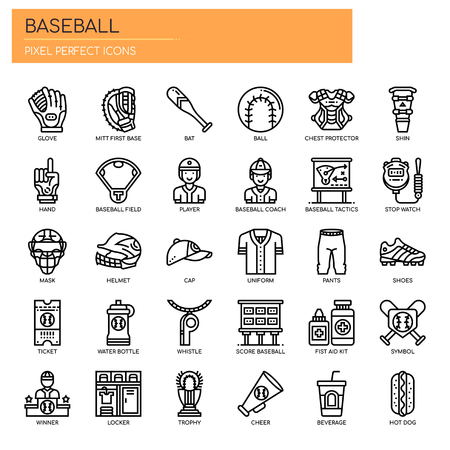 Baseball Elements , Thin Line and Pixel Perfect Icons