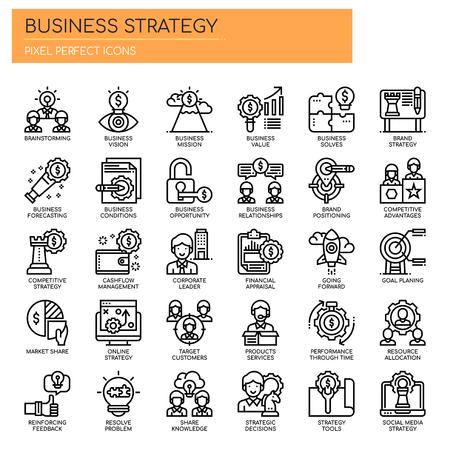 Geschäftsstrategie, Thin Line und Pixel Perfect Icons