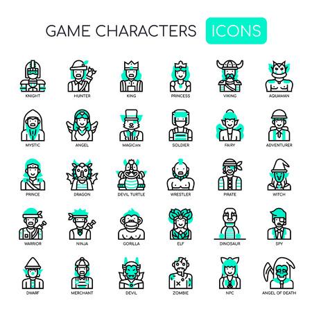 Spelkarakters, dunne lijn en Pixel Perfect-pictogrammen