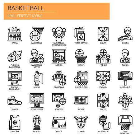 Elementos de baloncesto, iconos de líneas finas y píxeles perfectos