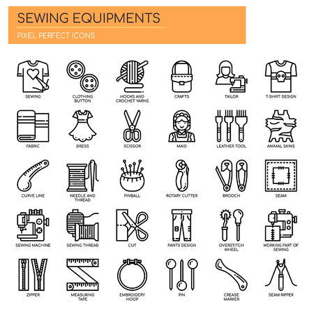 Sewing Elements , Thin Line and Pixel Perfect Icons