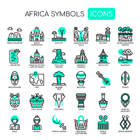 Africa Elements , Thin Line and Pixel Perfect Icons Vettoriali
