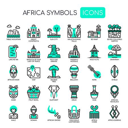 Elementos de África, iconos de líneas finas y píxeles perfectos