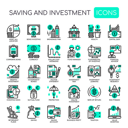 Ahorro e inversión, iconos de líneas finas y píxeles perfectos Ilustración de vector