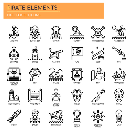 Pirate Elements , Thin Line and Pixel Perfect Icons