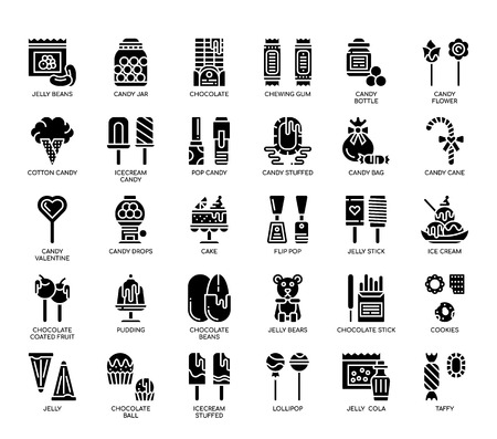 Sweet and Candy , Glyph Icons Illustration