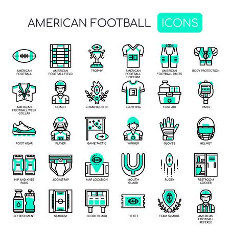 Iconos de fútbol americano, líneas finas y píxeles perfectos