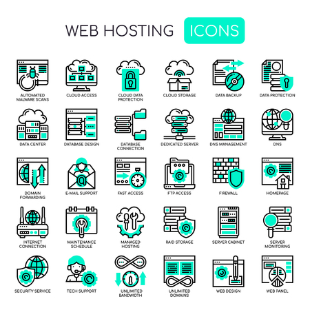 Web Hosting , Thin Line and Pixel Perfect Icons