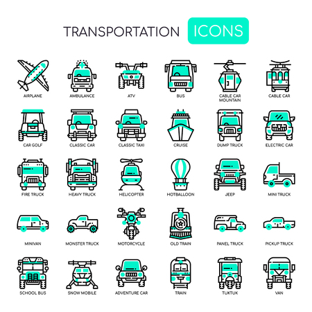Transportation , Thin Line and Pixel Perfect Icons Illustration