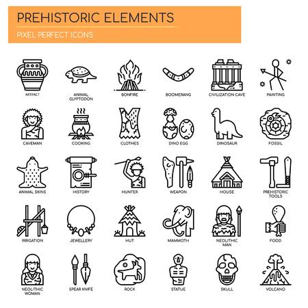 Prehistoric Elements , Thin Line and Pixel Perfect Icons Archivio Fotografico - 105658043