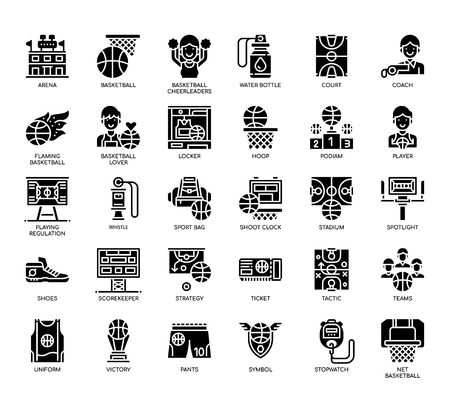 Basketball Elements , Glyph Icons Illustration