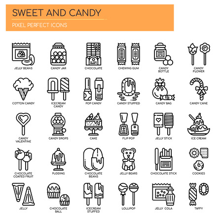 Sweet and Candy , Thin Line and Pixel Perfect Icons