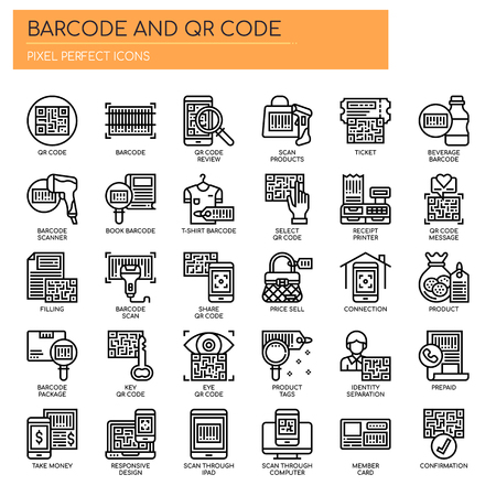 Barcode e QR Code, Thin Line e Pixel Perfect Icons Vettoriali