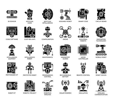 Robotic Engineering , Glyph Icons Illustration