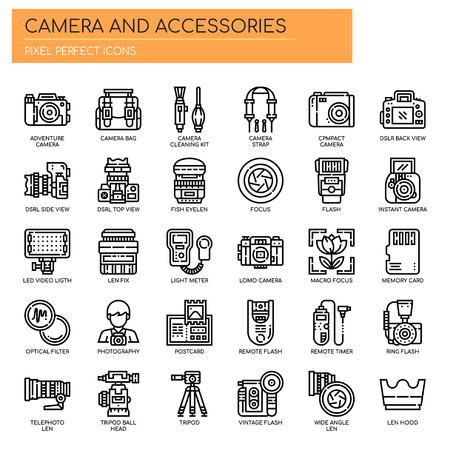 Camera and Accessories , Thin Line and Pixel Perfect Icons Vectores