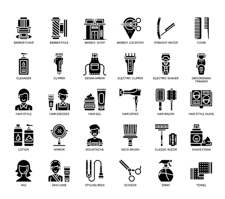 Barber Shop , Glyph Icons Çizim