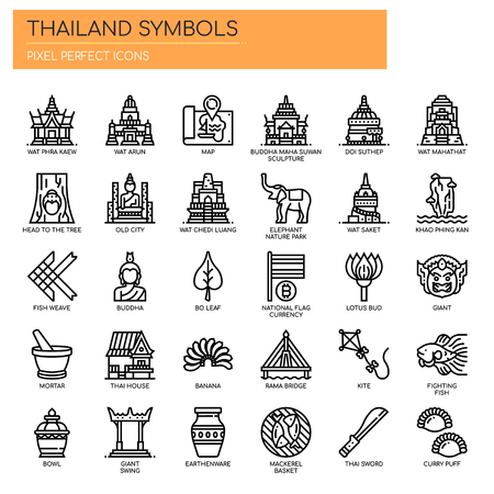 Thailand Symbols , Thin Line and Pixel Perfect Icons