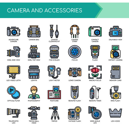 Camera and Accessories , Thin Line and Pixel Perfect Icons