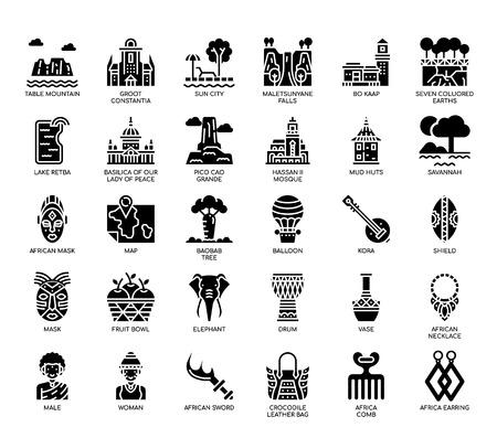 Éléments de l'Afrique, icônes de glyphe