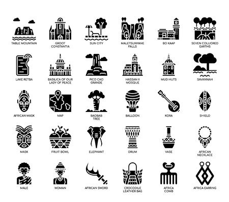 Africa Elements , Glyph Icons Illustration