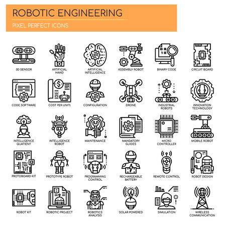 Robotic Engineering , Thin Line and Pixel Perfect Icons Illustration