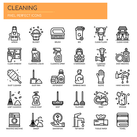 Cleaning Elements , Thin Line and Pixel Perfect Icons Ilustracja