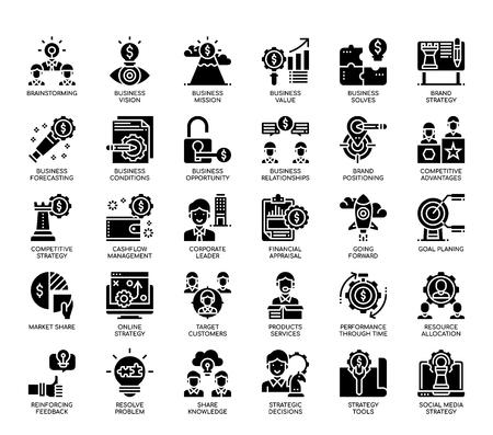 Estrategia empresarial, iconos de glifos