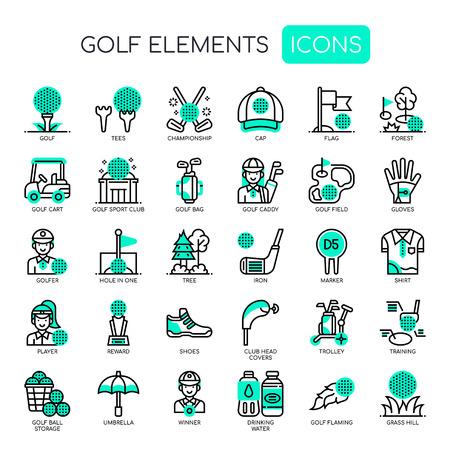 Éléments de golf, icônes Thin Line et Pixel Perfect