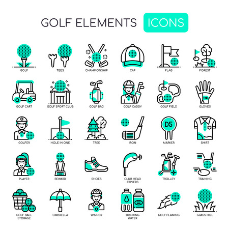 Golf Elements, Thin Line and Pixel Perfect Icons