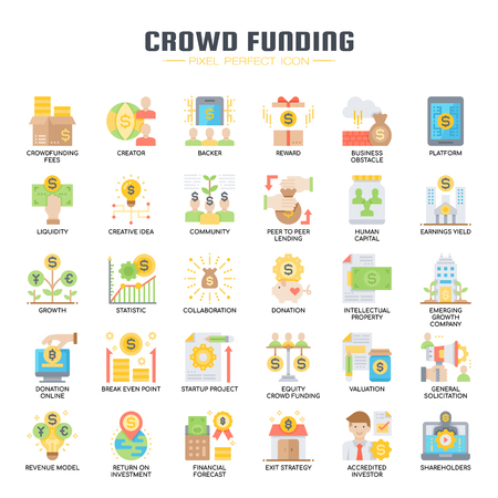 Crowdfunding , Thin Line and Pixel Perfect Icons Illustration