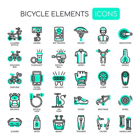 Fietselementen, dunne lijn en pixel perfecte pictogrammen Vector Illustratie