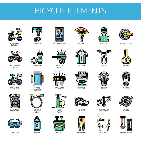 Bicycle Elements , Thin Line and Pixel Perfect Icons