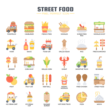 Street Food and Food Truck , Thin Line and Pixel Perfect Icons
