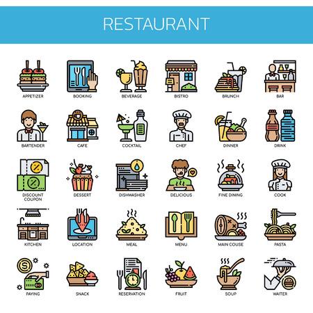 Elementos de restaurante, iconos de líneas finas y píxeles perfectos Ilustración de vector