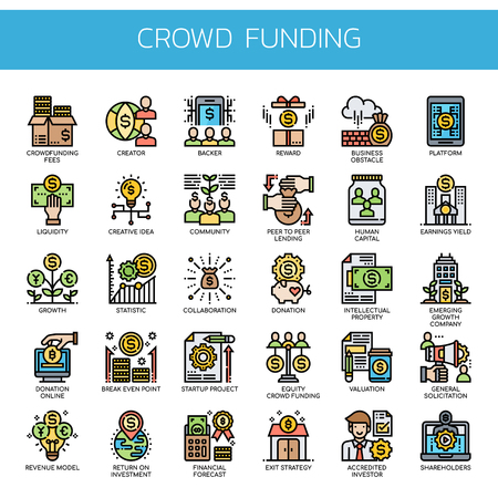 Crowdfunding , Thin Line and Pixel Perfect Icons 일러스트