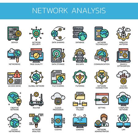 Analyse de réseau, icônes de ligne fine et de pixel parfait Vecteurs