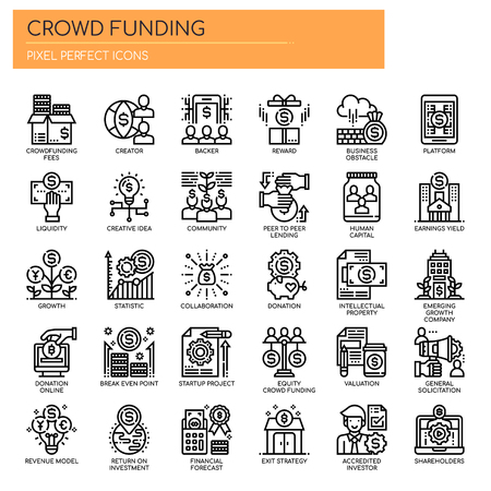 Crowdfunding, Thin Line et Pixel Perfect Icons