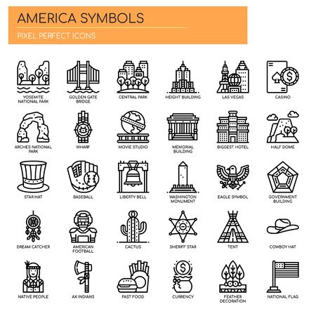 America Symbols , Thin Line and Pixel Perfect Icons Illusztráció