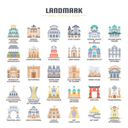 Landmark , Thin Line and Pixel Perfect Icons 向量圖像