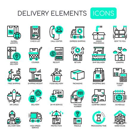 Delivery Elements , Thin Line and Pixel Perfect Icons Ilustración de vector
