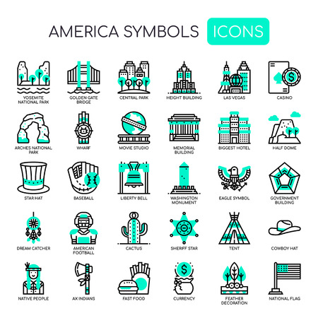 America Symbols , Thin Line and Pixel Perfect Icons Ilustrace