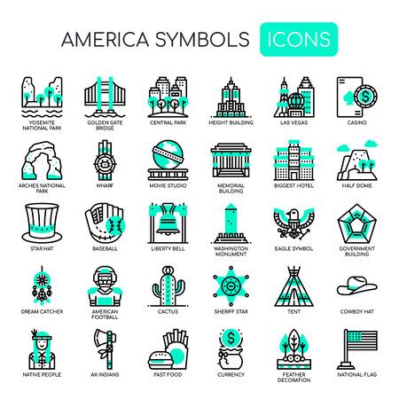 Símbolos de América, iconos de líneas finas y píxeles perfectos