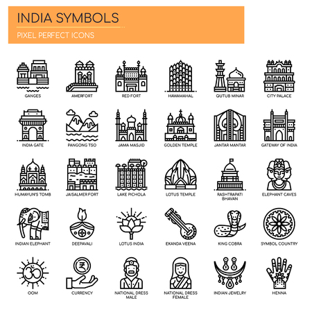 India Symbols , Thin Line and Pixel Perfect Icons Illustration