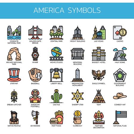 America Symbols , Thin Line and Pixel Perfect Icons 일러스트