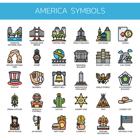 America Symbols , Thin Line and Pixel Perfect Icons  イラスト・ベクター素材