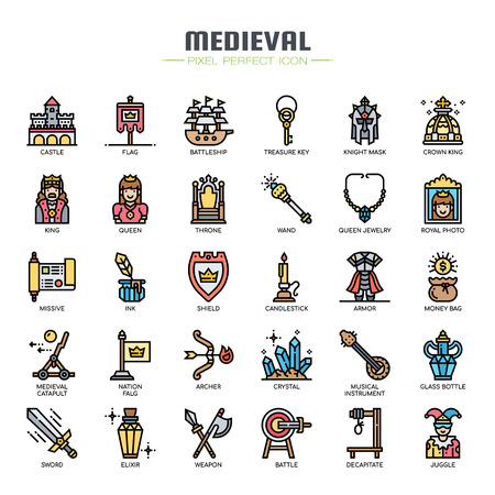 Medieval Elements , Thin Line and Pixel Perfect Icons Illustration
