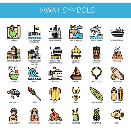 Hawaii Symbols , Thin Line and Pixel Perfect Icons Illustration
