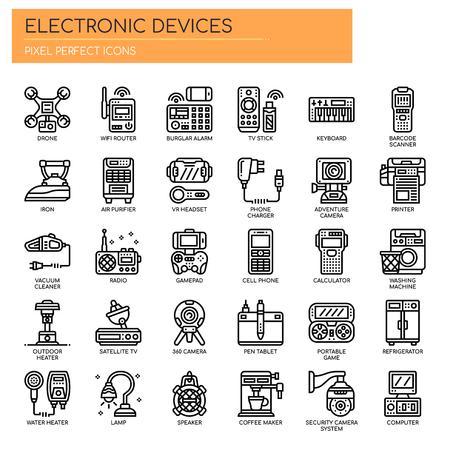 Dispositivi elettronici, linea sottile e icone perfette pixel